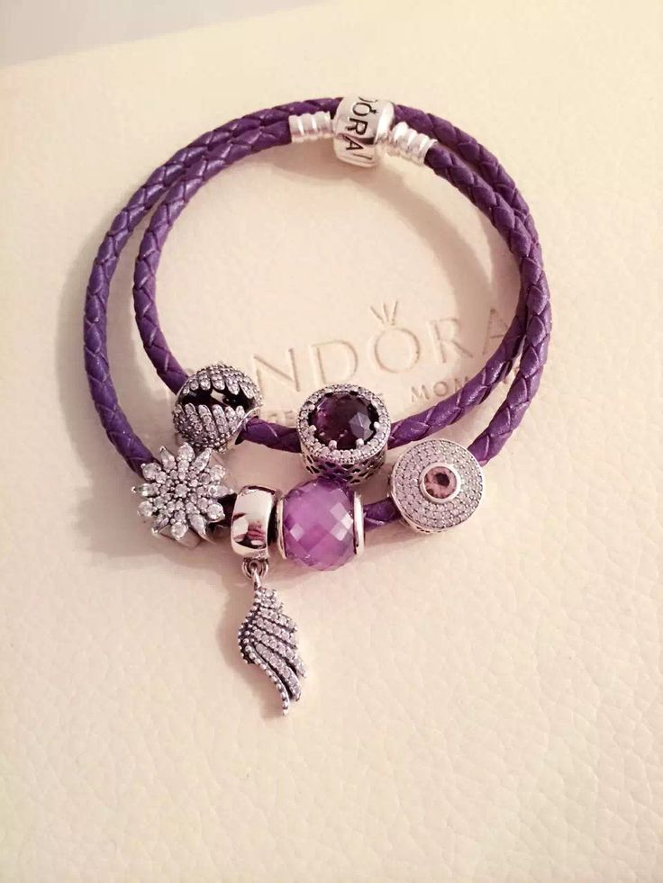 179 pandora leather charm bracelet purple hot sale