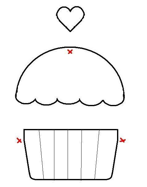 Free Printable cupcake Template | the x's mark the spots where the parts should meet or overlap