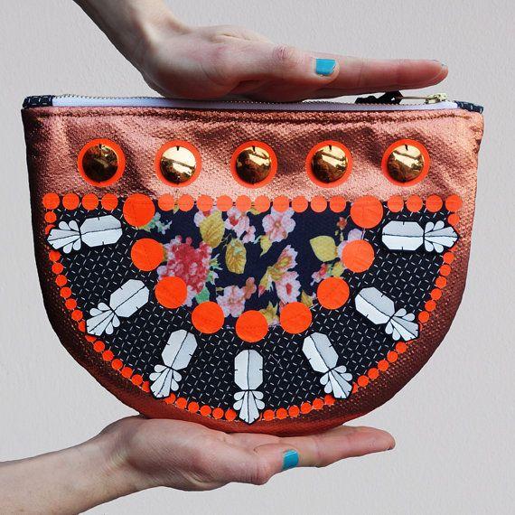 Copper and black Semi circle STATEMENT CLUTCH by dAKOTArAEdUST