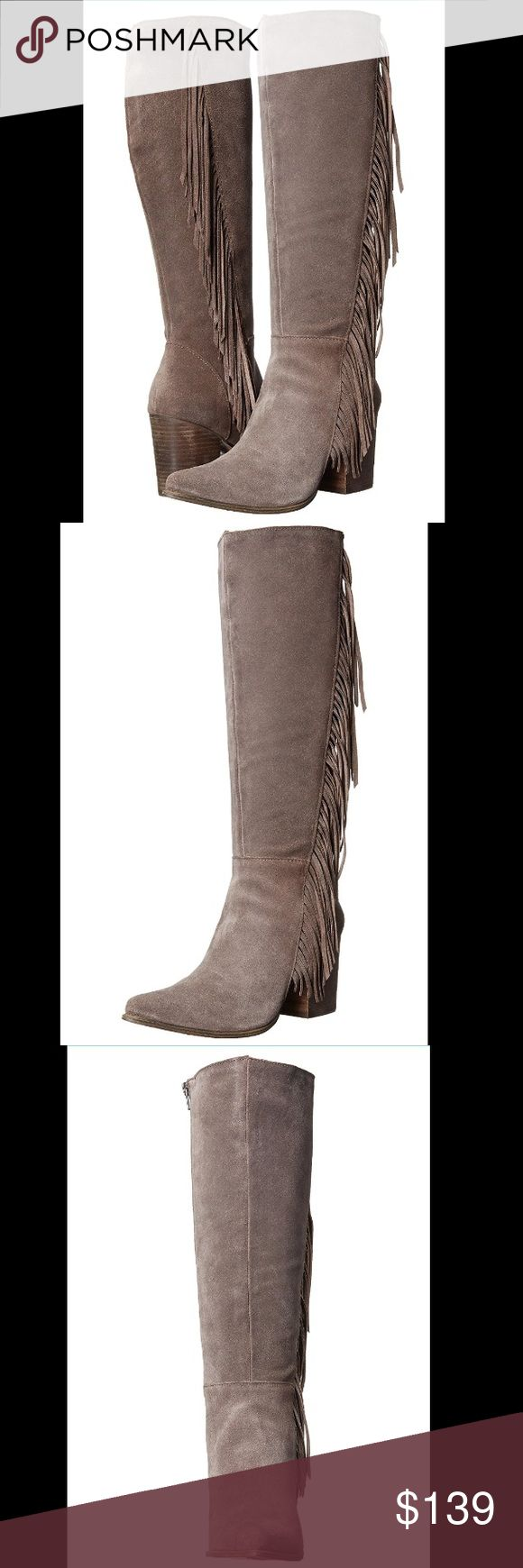 "Steve Madden fringe taupe suede boots These Steve Madden boots will meet all your style needs this season! Suede upper, side- zip closure, pointed toe silhouette, fringe detailing along shaft, fabric lining, man-made footbed, stacked block heel, man-made sole. Heel approx 2"", platform 1/4"". Shaft 16"". New with original packaging. Steve Madden Shoes Heeled Boots"