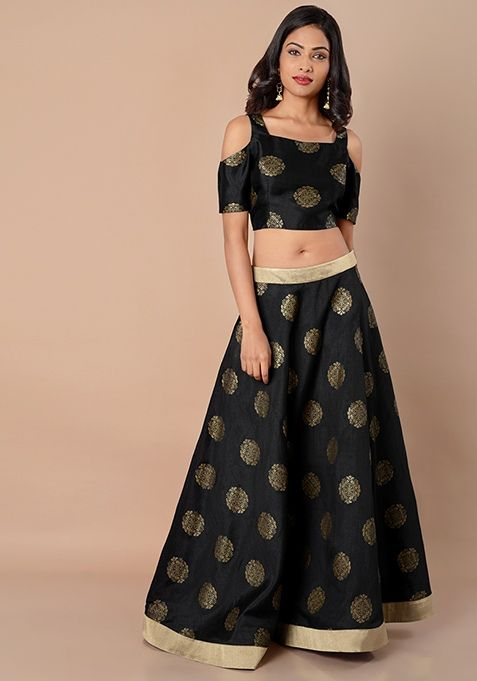 b05e49e964 Gold Border Silk Maxi Skirt - Black Brocade #FabAlley #Fashion #PartyWear  #Dresses #Indya #MaxiSkirt #FloralDress #WeddingWear
