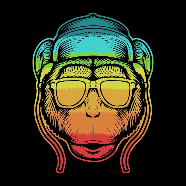 Monkey Head Colorful Vector Illustration Animal Apes Art Png
