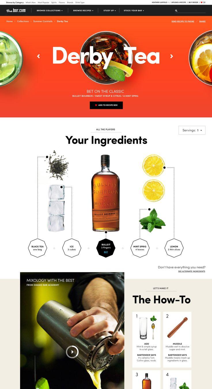 Diageo recipe website design