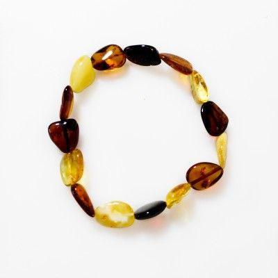 Bracelet d'ambre multicouleur forme naturel - Bijoux d'Ambre