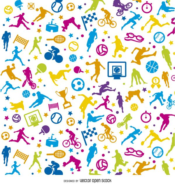 69 best sports images on pinterest silhouette colorful and design bright colored sports background silhouettes practicing different sports medals balls rackets voltagebd Choice Image