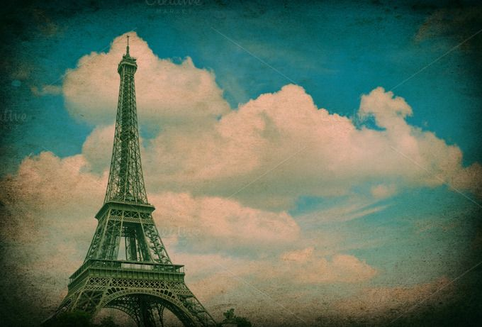 Eiffel Tower vintage style by LiliGraphie on Creative Market