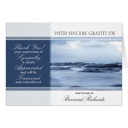 Ocean Themed Funeral / Memorial Thank You Cards Template With Poem