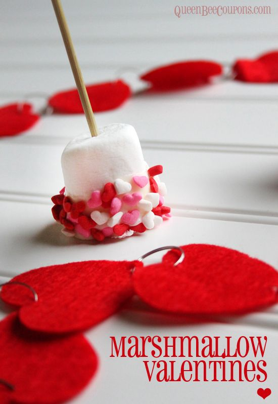 Easy Valentine Idea – Marshmallow Valentines, on a stick