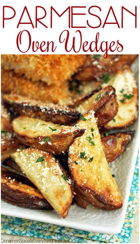 Hot, salty, cheesy wedge fries via Cinnamon Spice & Everything Nice
