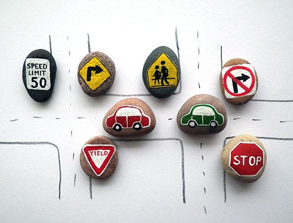 Road Signs and Cars with Magnets, Traffic Symbols, Play for Magnetic Chalkboard, Gift Idea for Boy, Painted Beach Pebbles, Sea Stones