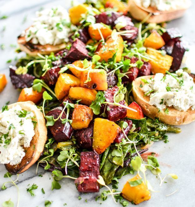 Roasted Beets and Beet Greens with Goat Cheese Crostini | 12 Beet Recipes | A Dozen Healthy Recipes That Will Change Your Mind About Beets by Homemade Recipes at http://homemaderecipes.com/cooking-102/healthy-recipes/12-beet-recipes/