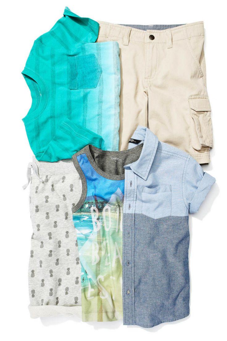 5 pieces that can be worn 5 different ways: this is the little guy's summer wardrobe. #looksforless #tanktop #cargoshorts #kidsfashion #boysfashion