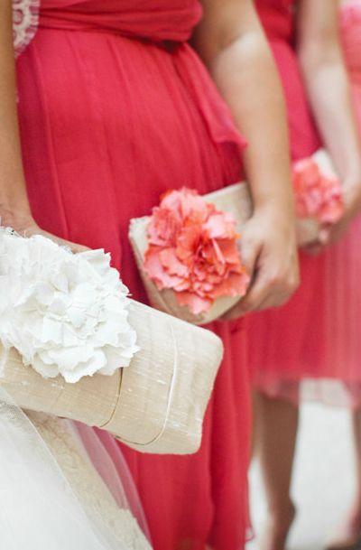 Coral peach wedding clutch, bridesmaids clutches, Wedding