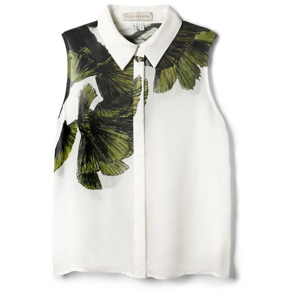 Elle Sasson Blenny Silk Top (£185) ❤ liked on Polyvore featuring tops, blouses, shirts, crop tops, leaves print, wrap blouse, white sleeveless blouse, white sleeveless shirt, white crop top and shirts & blouses
