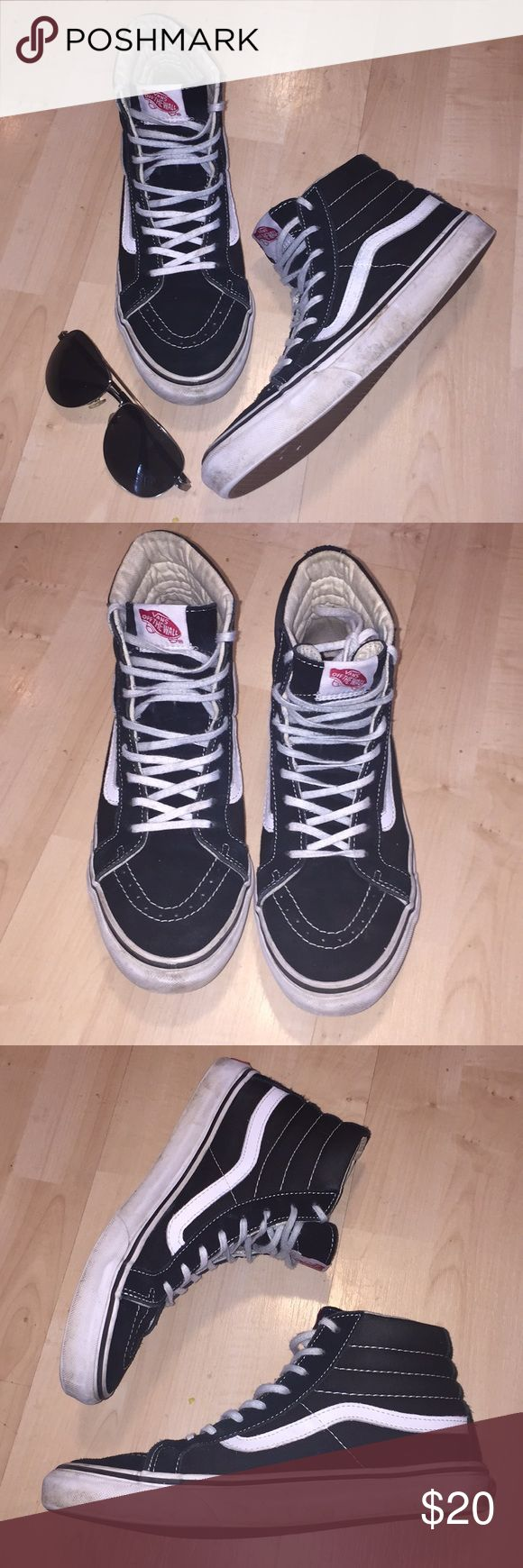 Vans High tops Super cute black Suede and canvas high tops. White walls have a few scuffs, but shoes and soles look great! Men's size 7, ladies size 8.5. Vans Shoes Sneakers
