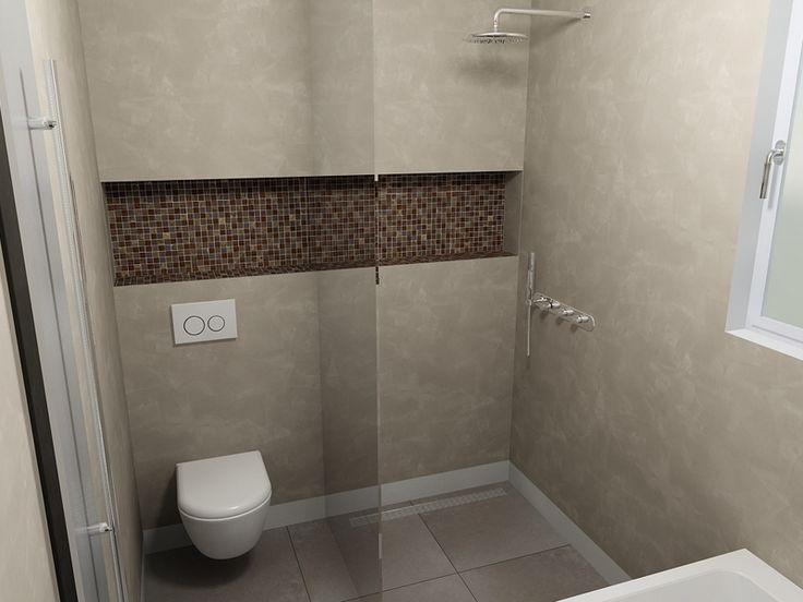 De eerste kamer beton cir op de wanden en een verrassende nis met moza ek die achter het - Mozaiek douche ...