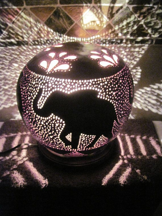 This Table Lamp Measures 8 High By 10 Wide. The Hand Carved Design Has 4  Large Elaphants Prancing Around The Gourd. The Gourd Has Been Stained Brown  And The ...