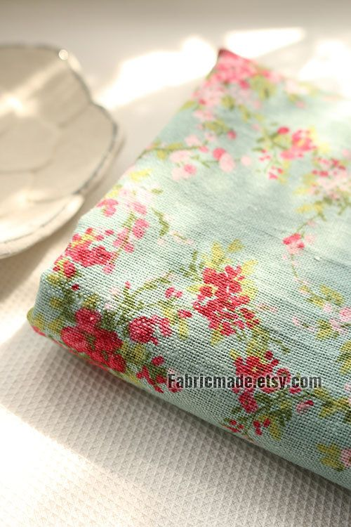 Flower Linen Cotton Fabric Pink Rose On Vintage By Fabricmade