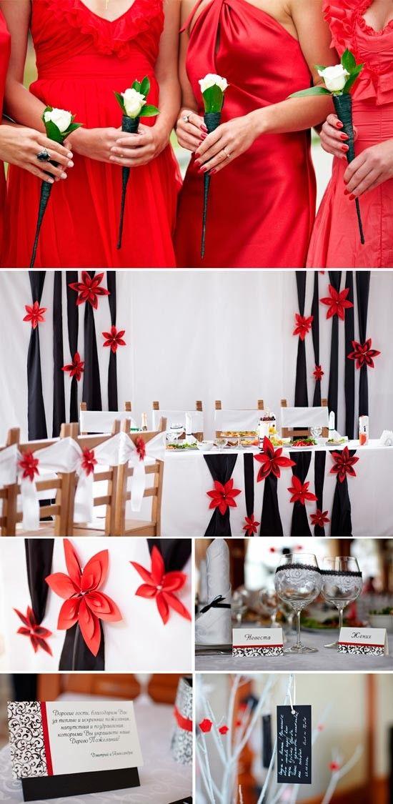 Красный в сочетании с белым и черным
