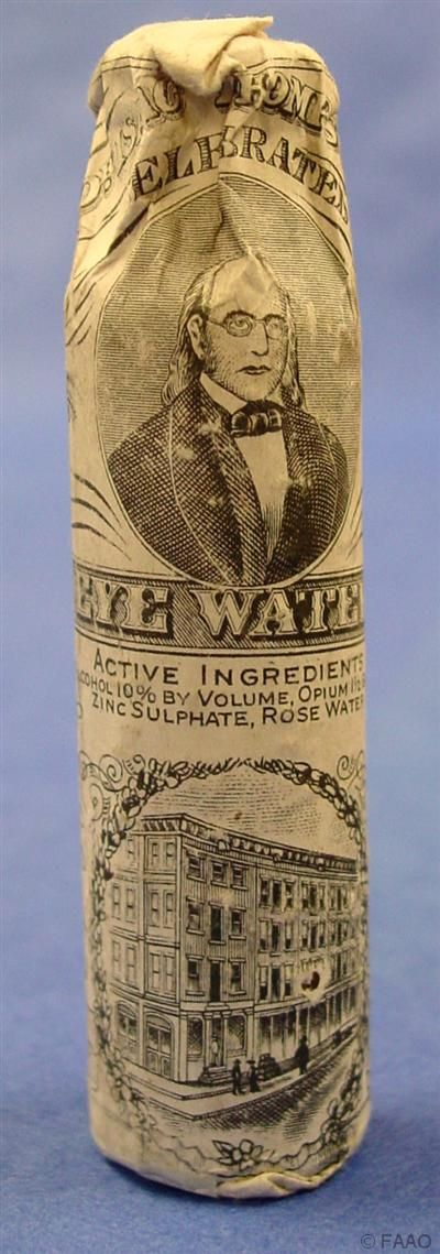 """Dr. Isaac Thompson's Celebrated Eye Water claimed to give relief in all instances of """"sore eyes"""" (1880-1900). Bottle sealed in paper wrapper, cont 10% alcohol, 1 1/2 grains of opium, zinc sulphate, rose water."""