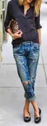 Recreate this look! Pair a solid shirt with a distressed denim, a pair of black flats, printed clutch and a simple bracelet! We've done the work for you...simply click on the articles of clothing and be redirected to the product page!  Check out our website: www.lifewfourgirls.com   #lifewfourgirls #arurallifestylebrand #buttondown #distresseddenim #flats #leopardprint #myshopstyle