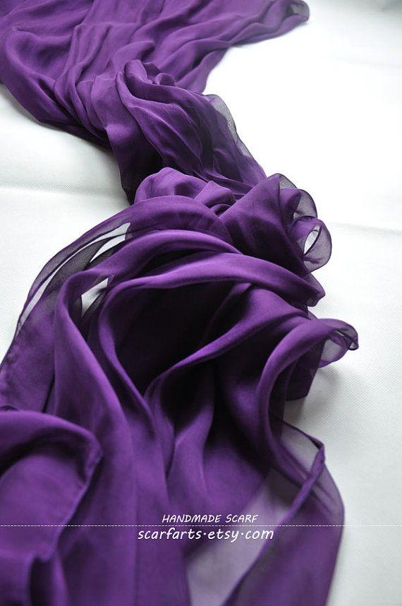 "Violet Aura- Dark Purple Scarf Shawl Silk Scarf Spring Summer Scarf Purple Violet 100% silk- 79""x26"""