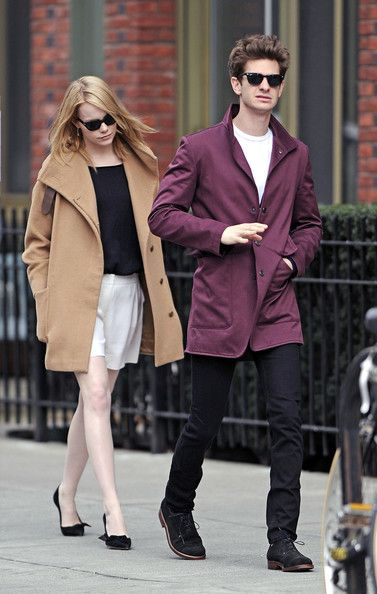 Emma Stone and Andrew Garfield / A pop of color in the wardrobe.