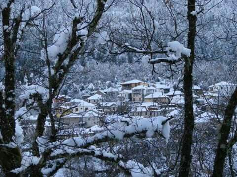 Winter in Greece. Snowy village in Epirus, Greece.