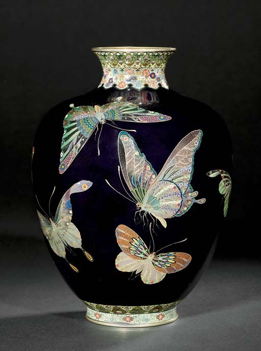 A CLOISONNÉ VASE SIGNED ON A SILVER TABLET KINUNKEN ZO, MEIJI PERIOD (LATE 19TH CENTURY) Worked in various thicknesses of silver wire and coloured cloisonné enamels on a deep blue ground with...