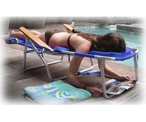 A lounger you can lay facedown comfortably on and read a book or magazine. Such a great idea!