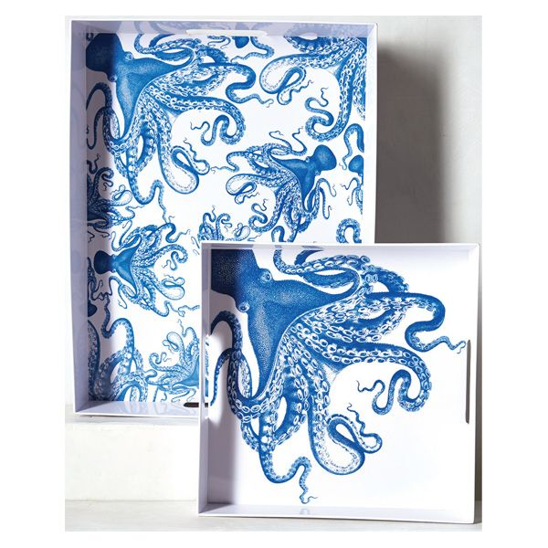 Anthropologie Octopus Melamine Serving Tray  Get wrapped up in true blue design with these Octopus melamine serving trays. Dishwasher-safe, the lightweight, shatter-resistant trays dish up enviable outdoor style  www.anthropologie.com