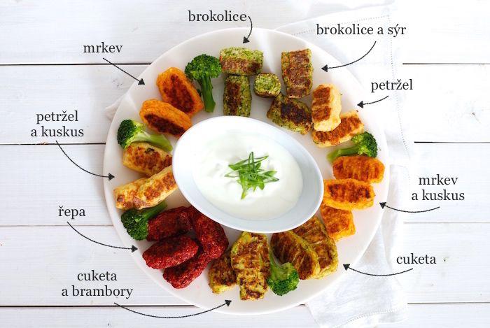 zeleninové placičky z různých druhů zeleniny