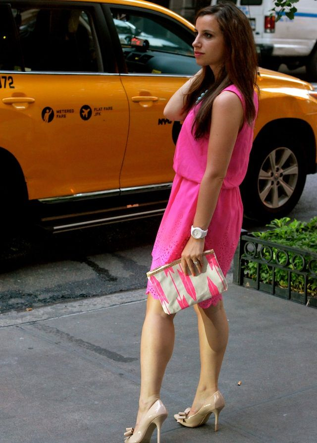 london times pink dress in new york city www.girlavantgarde.com
