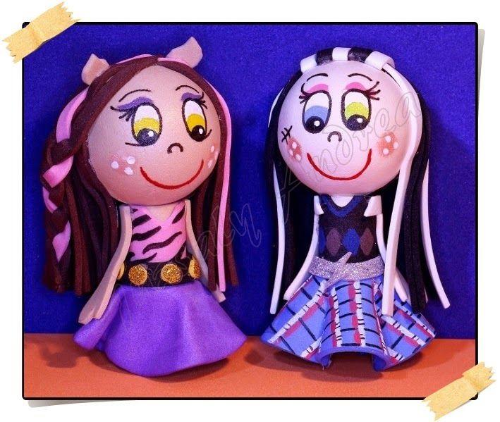 Clawdeen Wolf & Frankie Stein / Dekorgumi baba / Craft foam doll / Moosgummi-Puppe