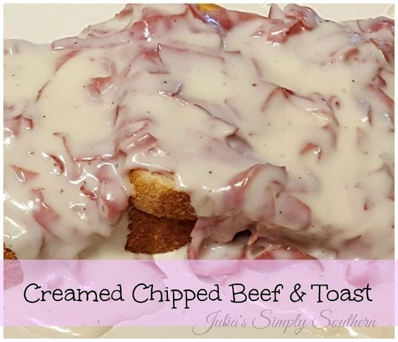 Julia's Simply Southern: Creamed Chipped Beef & Toast - S.O.S. This is the classic chipped beef recipe using dried beef, not ground beef.