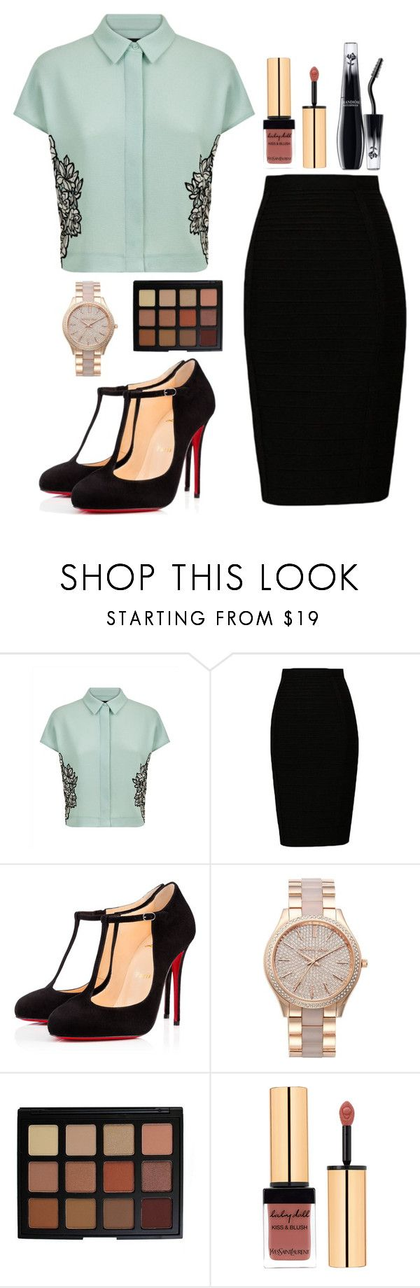"""Work. Work. Work."" by lightbody-joanna on Polyvore featuring Jaeger, Christian Louboutin, MICHAEL Michael Kors, Morphe, Yves Saint Laurent and Lancôme"