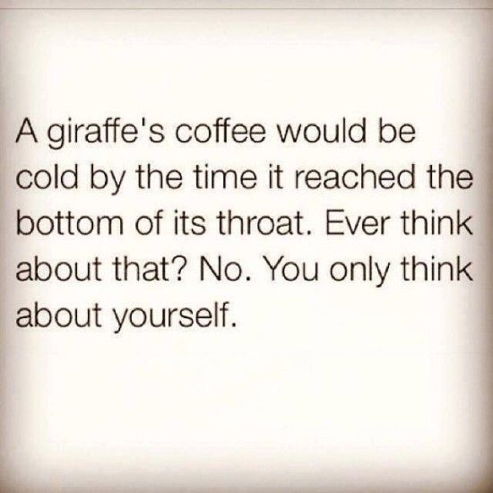 A giraffe's coffee would be cold by the time it reached the bottom of its throat.  Ever think about that?  No.  You only think about yourself. - Life throws you curves. Being prepared is everything. Are you DrumCorpsReady.com