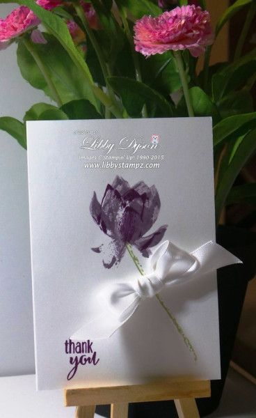 Lotus Blossom Notecards Again - Blackberry Bliss and Perfect Plum ink. All the stems are stamped in Pear Pizzazz with Whisper White Satin Ribbon adhered to each card with a Glue Dot.