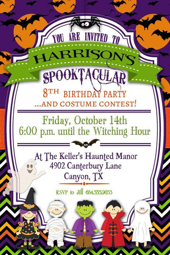 Halloween Birthday Invitation Children's by GracenLDesigns on Etsy