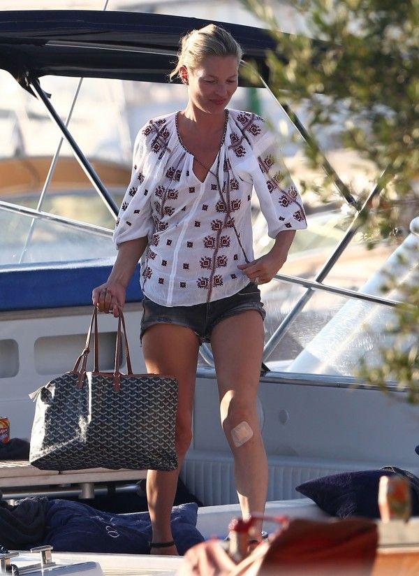 Kate Moss in Saint Tropez. Love her Goyard bag!
