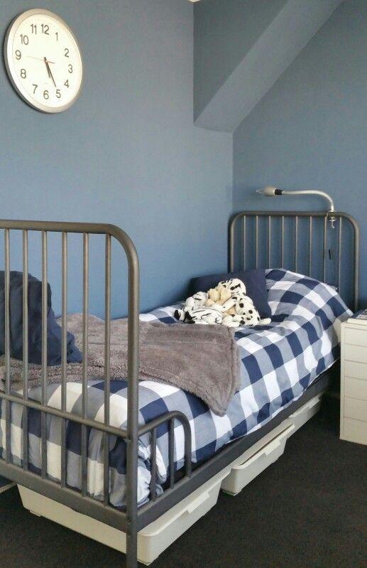 Stoer behang slaapkamer for - Blauwe en grijze jongens kamer ...