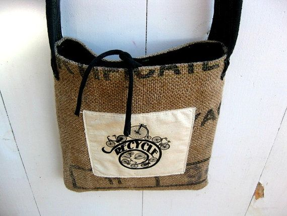 Upcycled Burlap & Tshirt Sling Bag Eco by barefootSurfboutique