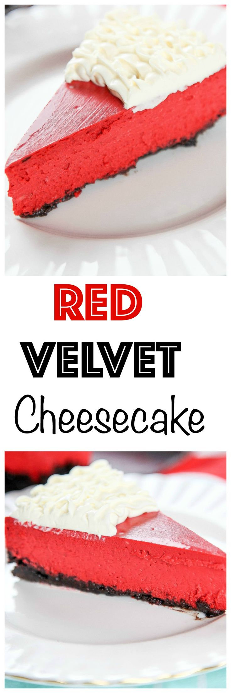 Red Velvet Oreo Cheesecake: Silky smooth red velvet cheesecake topped with a tangy cream cheese topping. Your favorite cake tastes even better in cheesecake form!