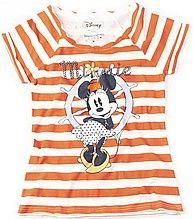 футболка, женская, оранжевая, полосатая, с принтом, минни маус