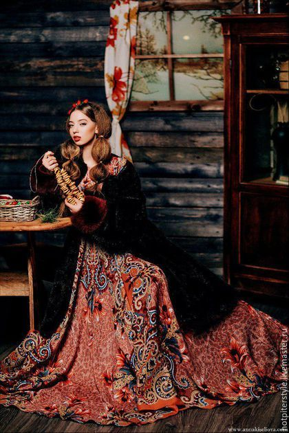 Платье в Русском стиле , платье из платков, стиль А-ля Русс. Ручная работа. Эксклюзив.`Букеты де Флёр`, Платье в Русском стиле, Russian Style