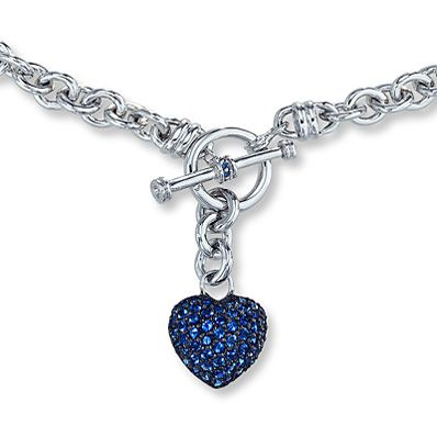 I WANT!!!!! Lab-Created Sapphire Dangling Heart Necklace Sterling Silver