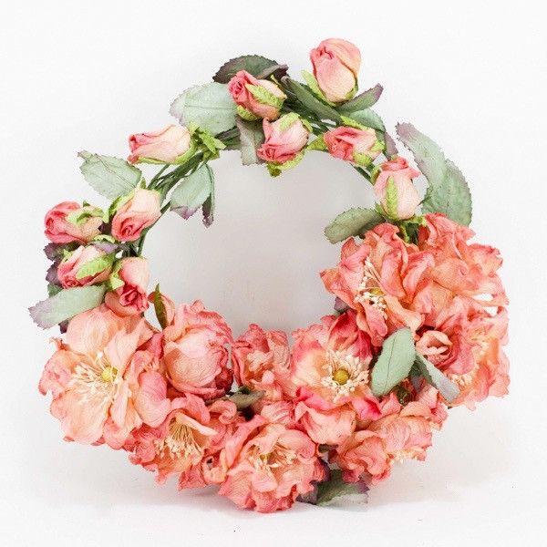 Peach Climbing rose- Paper flower Wreath- * IMPORTANT: Please note the – Paper Flowers Australia