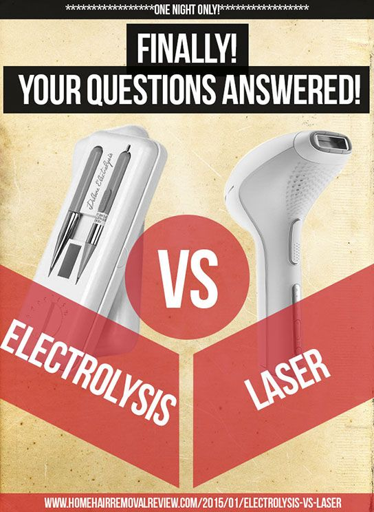 Find out the winner of Electrolysis vs Laser for hair removal http://homehairremovalreview.com/2015/01/electrolysis-vs-laser/  #diy #laser #electrolysis #hairremoval