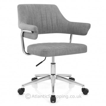 Upgrade your office space with the Skyline Office Chair Grey Fabric, a retro design with trendy grey fabric, allowing you to work in comfort.
