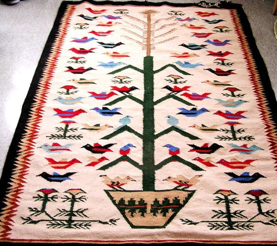 Vintage Navajo Flower and Bird Tree of Life Rug